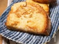 Сочни пухкави пържени филийки с яйца и прясно мляко